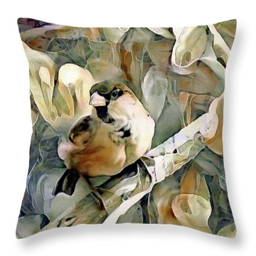 Throw Pillow featuring the mixed media The Inquisitive Sparrow by Susan Maxwell Schmidt
