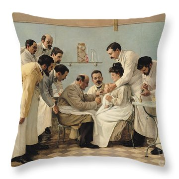 The Insertion Of A Tube Throw Pillow by Georges Chicotot