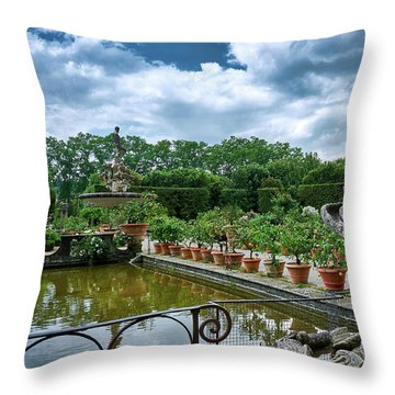 Inside The Boboli Gardens Of Firenze Throw Pillow
