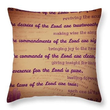 The Instructions Of The Lord Are Throw Pillow