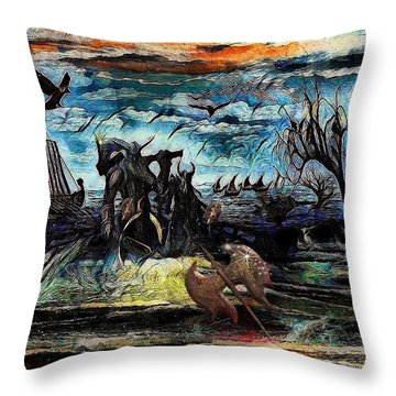 The Insurperable Guard Of The Land Of Danes And Brave Vikings Throw Pillow