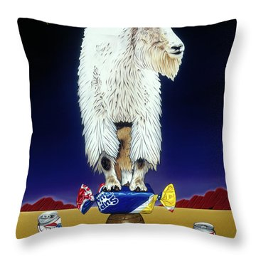 The Intoxicated Mountain Goat Throw Pillow
