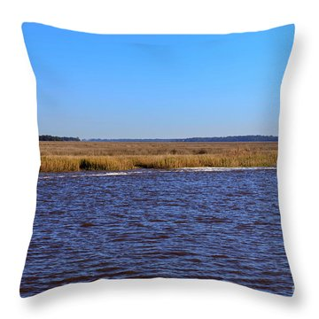 The Intracoastal Waterway In The Georgia Low Country In Winter Throw Pillow by Louise Heusinkveld