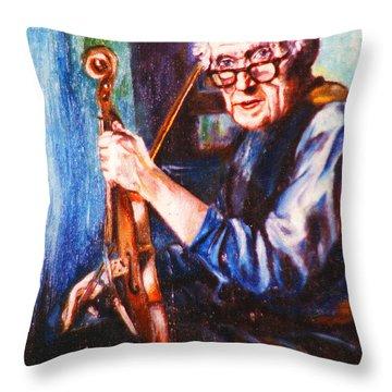 The Irish Violin Maker Throw Pillow by John Keaton