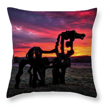 Throw Pillow featuring the photograph The Iron Horse Sun Up by Reid Callaway