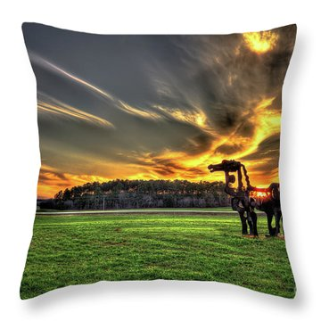 Throw Pillow featuring the photograph The Iron Horse Sunset by Reid Callaway