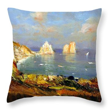 Throw Pillow featuring the painting The Island Of Capri And The Faraglioni by Rosario Piazza