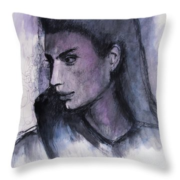 Throw Pillow featuring the drawing The Islander by Jarko Aka Lui Grande