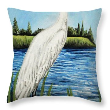 Throw Pillow featuring the painting The Island's Egret by Elizabeth Robinette Tyndall