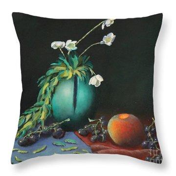 The Jade Vase And Jasmine Throw Pillow