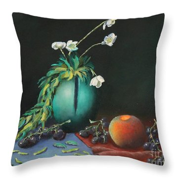 The Jade Vase And Jasmine Throw Pillow