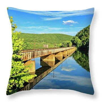 The James River Trestle Bridge, Va Throw Pillow