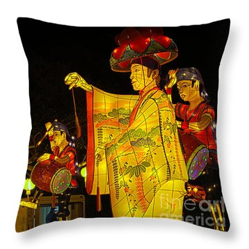 The Japanese Lantern Dancers Throw Pillow