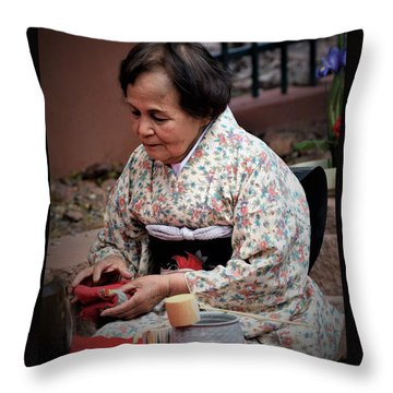 The Japanese Tea Ceremony Throw Pillow by John Glass