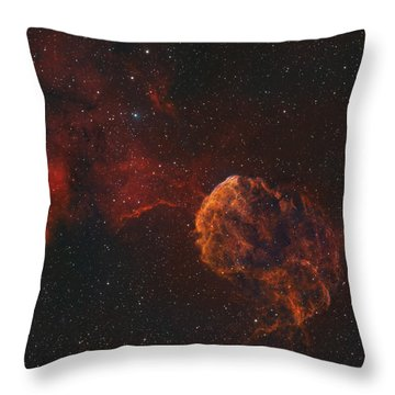 The Jellyfish Nebula Throw Pillow by Rolf Geissinger