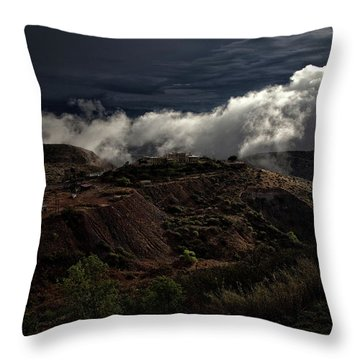 The Jerome State Park With Low Lying Clouds After Storm Throw Pillow