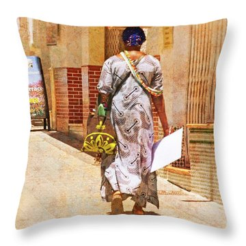 Throw Pillow featuring the photograph The Jewelry Seller - Malaga Spain by Mary Machare