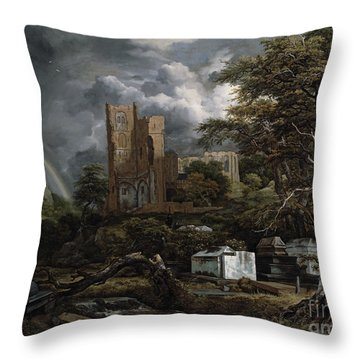 The Jewish Cemetery Throw Pillow by Jacob Isaaksz Ruisdael