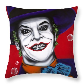The Joker Throw Pillow by Alicia Hayes