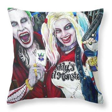 The Joker And Harley Quinn Throw Pillow