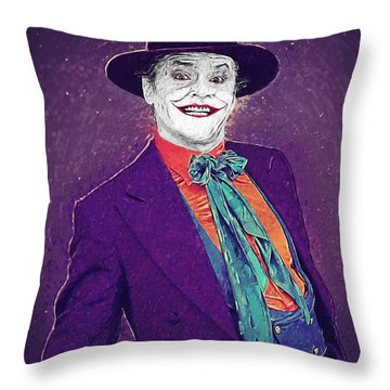 The Joker Throw Pillow by Taylan Apukovska