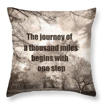 The Journey -zen Quote Photo Art  Throw Pillow