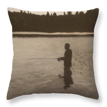 Throw Pillow featuring the painting The Joy Of Fishing. by Betty-Anne McDonald