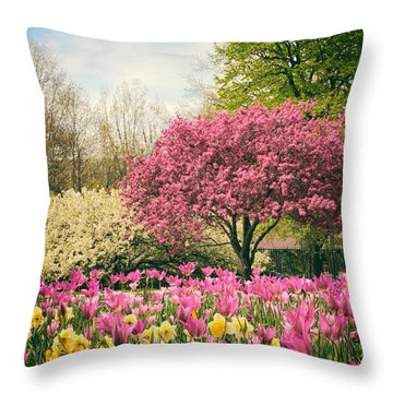 Throw Pillow featuring the photograph The Joy Of Tulips by Jessica Jenney