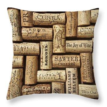 The Joy Of Wines Throw Pillow by Anthony Jones