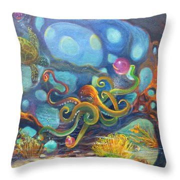 The Juggler Throw Pillow by Claudia Goodell