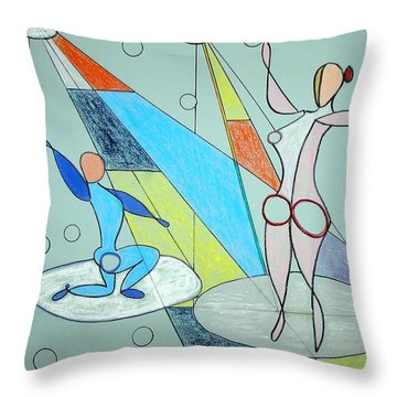 Throw Pillow featuring the drawing The Jugglers by J R Seymour