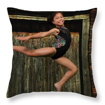 Throw Pillow featuring the photograph The Jump by Robert Hebert