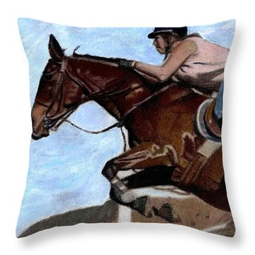 The Jumper - Horse And Rider Painting Throw Pillow by Patricia Barmatz