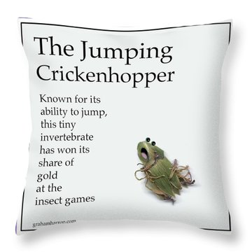 The Jumping Crickenhopper Throw Pillow