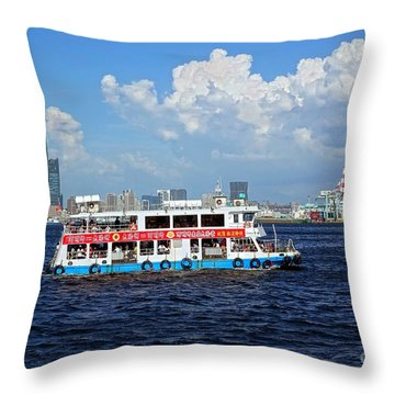 Throw Pillow featuring the photograph The Kaohsiung Harbor Ferry Crosses The Bay by Yali Shi