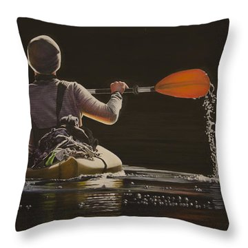 The Kayaker Throw Pillow by Laurie Tietjen