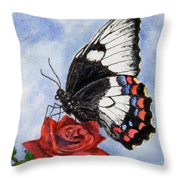 Throw Pillow featuring the painting The Keeper Of The Rose by Sam Sidders