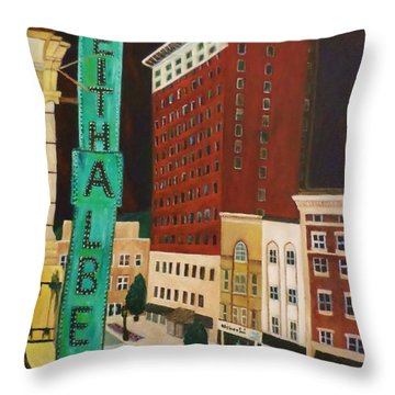 The Keith Albee Theater Throw Pillow by Christy Saunders Church