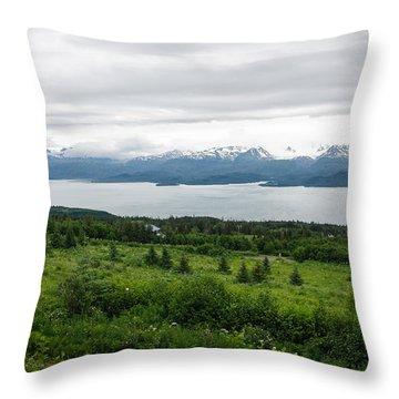The Kenai Mountains In Homer Throw Pillow