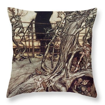 The Kensington Gardens Are In London Where The King Lives Throw Pillow by Arthur Rackham