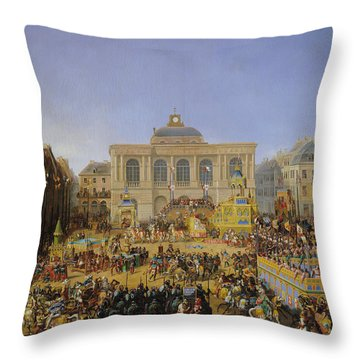 The Kermesse At Saint-omer In 1846 Throw Pillow by Auguste Jacques Regnier