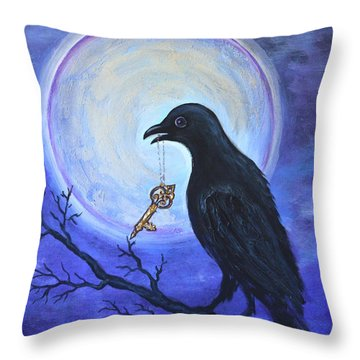 Throw Pillow featuring the painting The Key by Agata Lindquist