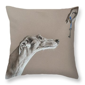 Throw Pillow featuring the drawing The Key Of Sincerity by Elena Kolotusha
