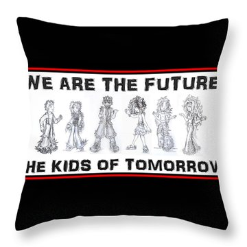 Throw Pillow featuring the drawing The Kids Of Tomorrow 1 by Shawn Dall