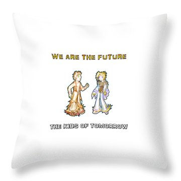 Throw Pillow featuring the digital art The Kids Of Tomorrow Corie And Albert by Shawn Dall