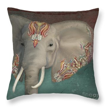 Throw Pillow featuring the painting The King - African Bull Elephant - Kashmir Paisley Tribal Pattern Safari Home Decor by Audrey Jeanne Roberts