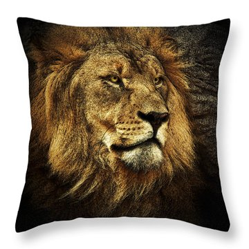 Throw Pillow featuring the mixed media The King by Elaine Malott