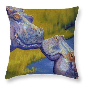 The Kiss - Hippos Throw Pillow