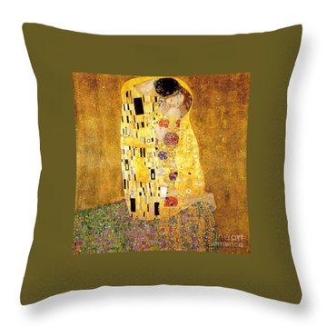 The Kiss Throw Pillow by Klimt