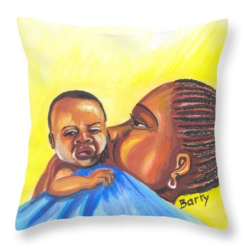 The Kiss Of A Mother In Senegal Throw Pillow by Emmanuel Baliyanga